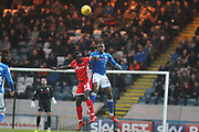 Donervan Daniels clears the ball during the EFL Sky Bet League 1 match between Rochdale and Walsall at Spotland, Rochdale, England on 23 December 2017. Photo by Daniel Youngs.