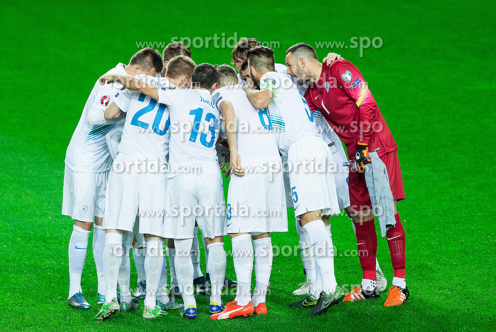 Team Slovenia during the EURO 2016 Qualifier Group E match between Slovenia and Lithuania, on October 9, 2015 in SRC Stozice, Ljubljana Slovenia. Photo by Vid Ponikvar / Sportida