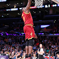 14 January 2014: Cleveland Cavaliers small forward Luol Deng (9) goes for the dunk during the Cleveland Cavaliers 120-118 victory over the Los Angeles Lakers at the Staples Center, Los Angeles, California, USA.