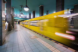 train at platform at Lindauer Allee subway station in Berlin Germany