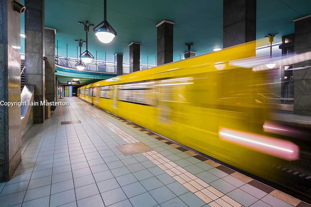 train at platform at Lindauer Allee subway station in Berlin Germany