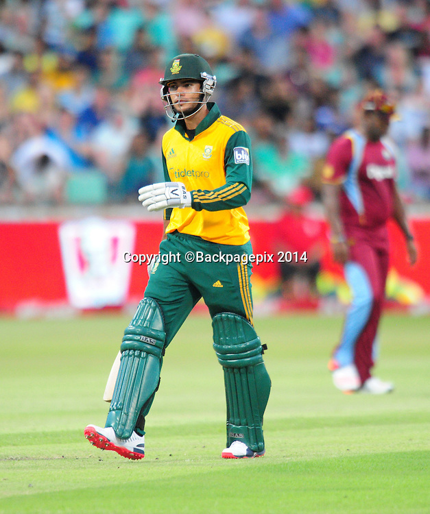 Reeza Hendricks , South Africa during the 2015 KFC T20 International Series cricket match between South Africa and West Indies at the Kingsmead Stadium in Durban on the 14th of January 2015<br /> <br /> &copy;Sabelo Mngoma/BackpagePix