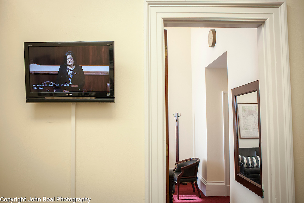 Representative Pramila Jayapal (D-WA, 7), delivers a one-minute speech on the floor of the House to repudiate President Trump's January 27, 2017 executive order on Tuesday, January 31, 2017.  One-minute speeches are a common occurrence in the House of Representatives.  Delivered at the beginning of the legislative day, it's an opportunity for Representative to take a brief moment to briefly address any area of concern.  John Boal photo/for The Stranger