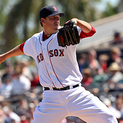 March 12, 2011; Fort Myers, FL, USA; Boston Red Sox starting pitcher John Lackey (41) during a spring training exhibition game against the Florida Marlins at City of Palms Park. The Red Sox defeated the Marlins 9-2.  Mandatory Credit: Derick E. Hingle