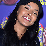 Maya Jama arrives at the Creme Egg Camp - grand opening at its Shoreditch pop-up with an evening of themed cocktails and treats on 18th January 2018, London, UK.