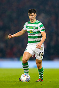 Kieran Tierney (#63) of Celtic on the ball during the Betfred Cup Final between Celtic and Aberdeen at Celtic Park, Glasgow, Scotland on 2 December 2018.