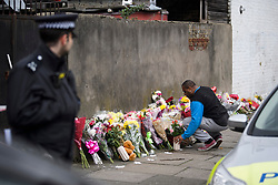 © Licensed to London News Pictures. 04/04/2018. London, UK. Flowers being placed on Chalgrove Road in Tottenham, north London where 17 year old Tanesha Melbourne was shot dead. A recent spree of killings in the capital has taken the murder toll for the year so far to 48. Photo credit: Ben Cawthra/LNP