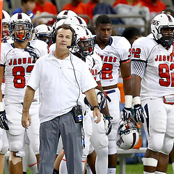 Sep 7, 2013; New Orleans, LA, USA; South Alabama Jaguars head coach Joey Jones on the sideline during the second half of a game against the Tulane Green Wave at the Mercedes-Benz Superdome. South Alabama defeated Tulane 41-39. Mandatory Credit: Derick E. Hingle-USA TODAY Sports