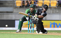 New Zealand's Colin Munro bats in front of Pakistan's Sarfraz Ahmed in the first T20 International Cricket match, Westpac Stadium, Wellington, New Zealand, Monday, January 22, 2018