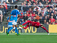 EDINBURGH, SCOTLAND - JULY 28: <br /> Great save by Napoli goalkeeper, Alex Meret, during the Pre-Season Friendly match between Liverpool FC and SSC Napoli at Murrayfield on July 28, 2019 in Edinburgh, Scotland. (Photo by MB Media)