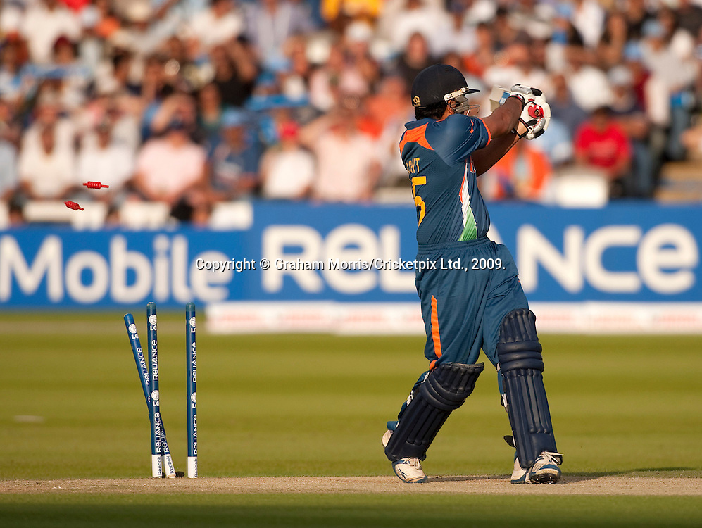 Rohit Sharma is bowled by Ryan Sidebottom during the ICC World Twenty20 Cup match between India and England at Lord's. Photo © Graham Morris (Tel: +44(0)20 8969 4192 Email: sales@cricketpix.com)