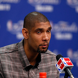 Jun 13, 2013; San Antonio, TX, USA; San Antonio Spurs power forward Tim Duncan addresses the media during a press conference after game four of the 2013 NBA Finals against the Miami Heat at the AT&T Center. The Miami Heat defeated the San Antonio Spurs 109-93. Mandatory Credit: Derick E. Hingle-USA TODAY Sports