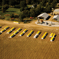 Aerial view of harvested cotton modules before they are transported to a cotton gin.