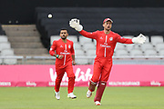 Lancashires Dane Vilas (Captain & Wicket Keeper) catches one behind during the Vitality T20 Blast North Group match between Lancashire Lightning and Durham Jets at the Emirates, Old Trafford, Manchester, United Kingdom on 7 August 2018.