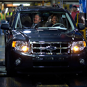 President Bush tours the Ford Motor Company -- Kansas City Assembly Plant Tuesday, March 20, 2007, in Kansas City, MO.  Tour guides are Mayor Jim Stoufer; Alan Mulally, President and CEO of Ford Motor Company; Ken Ward, Plant Manager. <br /> <br /> Photo by Khue Bui