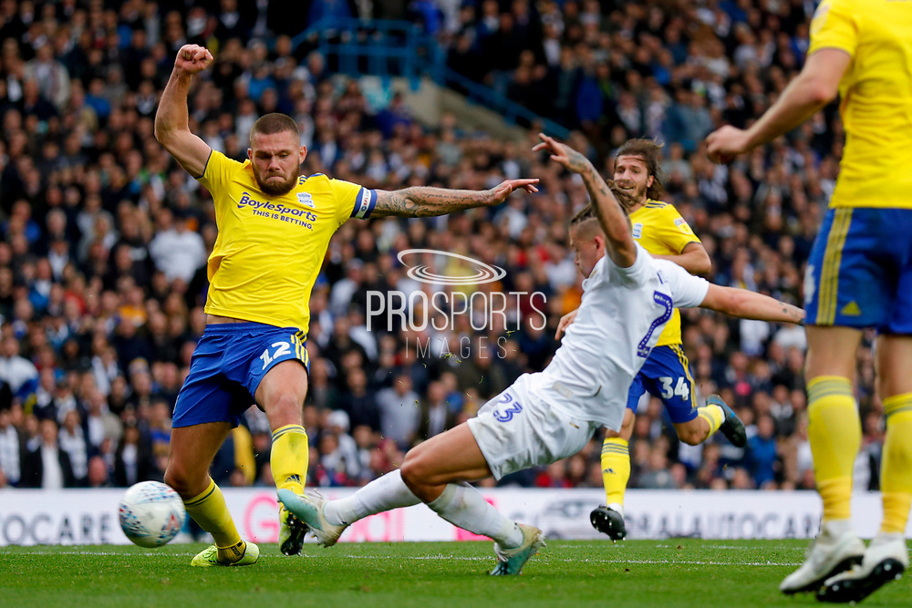 Leeds United midfielder Kalvin Phillips (23) scores a goal to make the score 1-0 during Leeds United's 100th anniversary EFL Sky Bet Championship match between Leeds United and Birmingham City at Elland Road, Leeds, England on 19 October 2019.