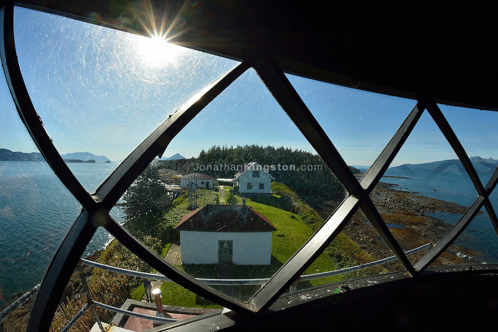 View from inside the light housing of Point Retreat Lighthouse located on the northern tip of Admiralty Island near Juneau, Alaska.