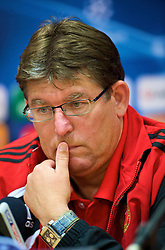LIVERPOOL, ENGLAND - Tuesday, September 15, 2009: Debreceni's head coach Andras Herczeg during a press conference at Anfield ahead of the UEFA Champions League Group E match against five times champions Liverpool. (Photo by David Rawcliffe/Propaganda)