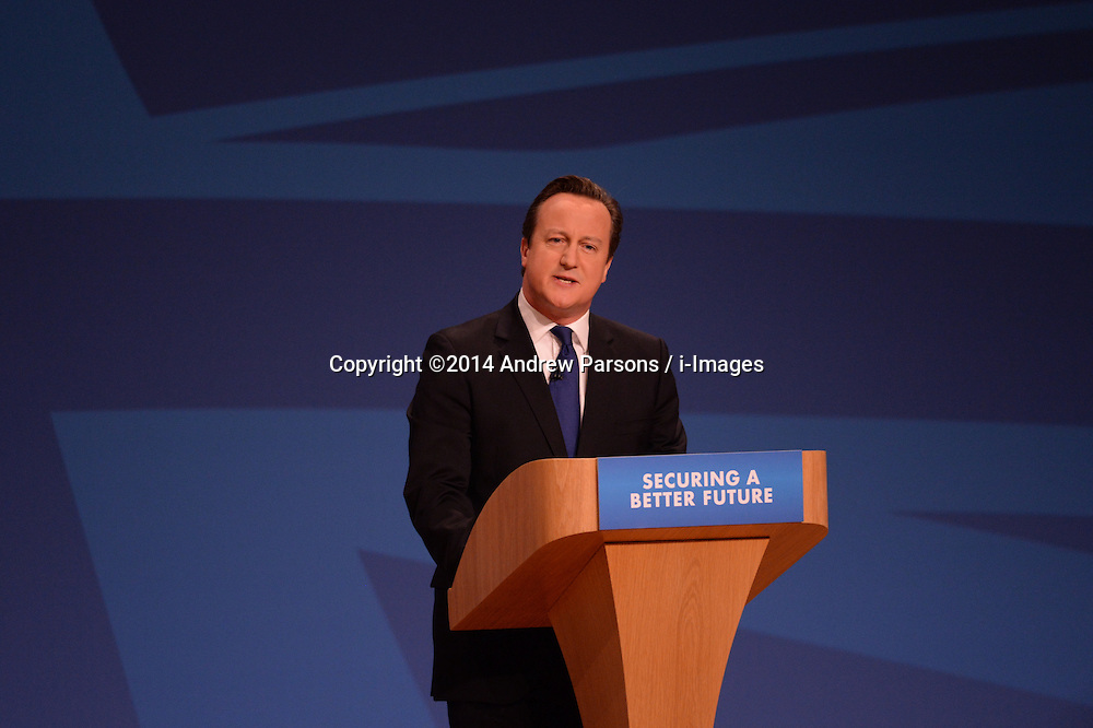 Image ©Licensed to i-Images Picture Agency. 01/10/2014. Birmingham, United Kingdom. The Prime Minister David Cameron delivering his keynote speech to the Conservative Party Conference. Picture by Andrew Parsons / i-Images