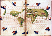 World map of route taken by Ferdinand Magellan (c1480-1521) when he led first circumnavigation of the globe 1519-1521. Mercator projection. Bibliotheque Nationale
