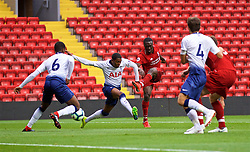 LIVERPOOL, ENGLAND - Friday, August 17, 2018: Liverpool's Bobby Adekanye scores the first goal during the Under-23 FA Premier League 2 Division 1 match between Liverpool FC and Tottenham Hotspur FC at Anfield. (Pic by David Rawcliffe/Propaganda)
