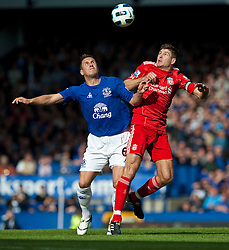 17.10.2010, Goodison Park, Liverpool, ENG, PL, Everton FC vs Liverpool FC, im Bild Liverpool's captain Steven Gerrard MBE and Everton's Phil Jagielka during the 214th Merseyside Derby match at Goodison Park, EXPA Pictures © 2010, PhotoCredit: EXPA/ Propaganda/ D. Rawcliffe *** ATTENTION *** UK OUT!