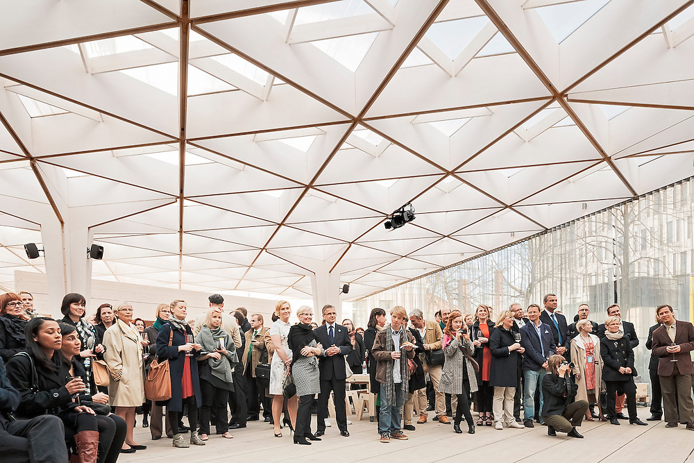 VIP opening party of the Paviljonki - wooden pavilion for Helsinki world design capital 2012