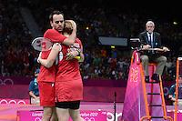 Fischer and Pedersen, Denmark, Win Bronze Mixed Doubles, Olympic Badminton London Wembley 2012