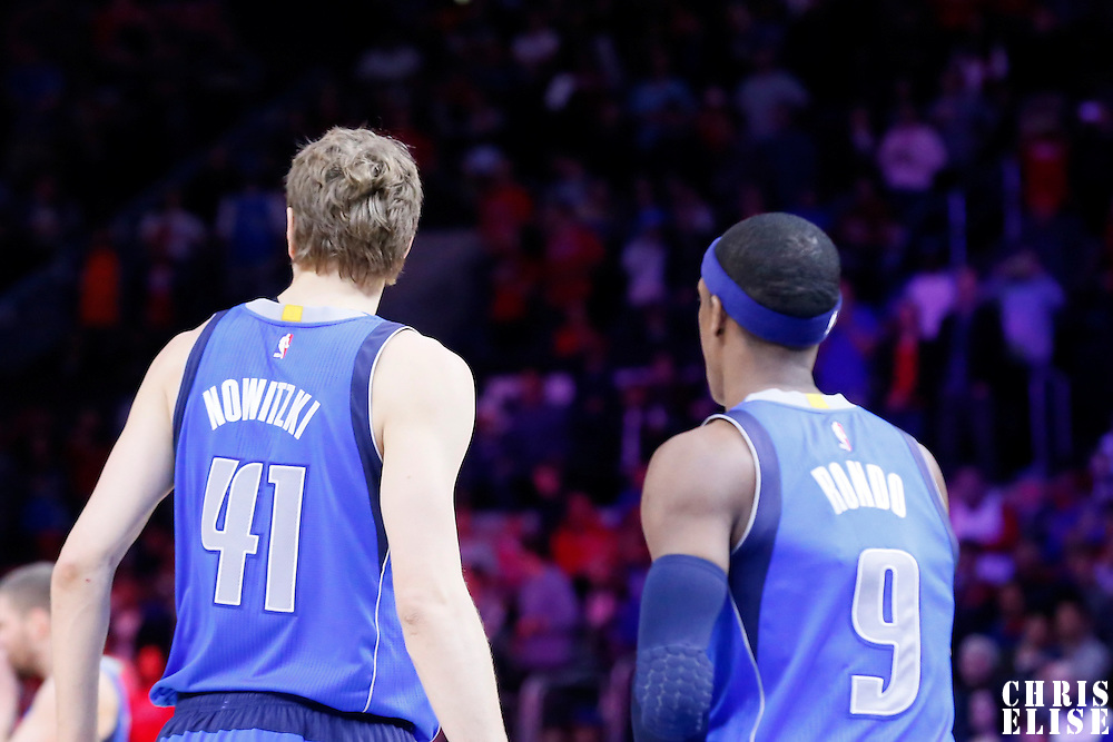 10 January 2014: Dallas Mavericks forward Dirk Nowitzki (41) is seen next to Dallas Mavericks guard Rajon Rondo (9) during the Los Angeles Clippers 120-100 victory over the Dallas Mavericks, at the Staples Center, Los Angeles, California, USA.