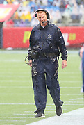 Jan 27, 2019; Orlando, FL, USA; NFC head coach Jason Garrett of the Dallas Cowboys smiles while the rain comes down hard during the NFL Pro Bowl football game at Camping World Stadium.  The AFC beat the NFC 26-7. (Steve Jacobson/Image of Sport)