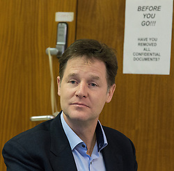 "© Licensed to London News Pictures . FILE PICTURE DATED 15/01/2015 of The Deputy Prime Minister , NICK CLEGG , in front of a sign reading "" Before you go have you removed all confidential documents "" during a visit to Liverpool . The Liberal Democrat party leader has spoken out against the "" Snoopers Charter "" which would enable government power to view everyone's social media and internet activity . Photo credit : Joel Goodman/LNP"