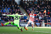 Doncaster Rovers midfielder James Coppinger (26) is caught offside during the EFL Sky Bet League 1 match between Scunthorpe United and Doncaster Rovers at Glanford Park, Scunthorpe, England on 23 February 2019.