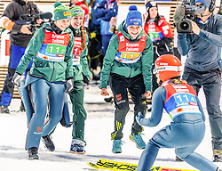 25.02.2019, Seefeld, AUT, FIS Weltmeisterschaften Ski Nordisch, Seefeld 2019, Skisprung, Damen, Teambewerb, Wertungssprung, im Bild v.l. Ramona Straub (GER), Juliane Seyfarth (GER), Ramona Straub (GER), Katharina Althaus (GER) // f.l. Ramona Straub Juliane Seyfarth Carina Vogt and Katharina Althaus of Germany during the competition jump for the ladie's skijumping HS109 team competition of FIS Nordic Ski World Championships 2019. Seefeld, Austria on 2019/02/25. EXPA Pictures © 2019, PhotoCredit: EXPA/ Stefan Adelsberger