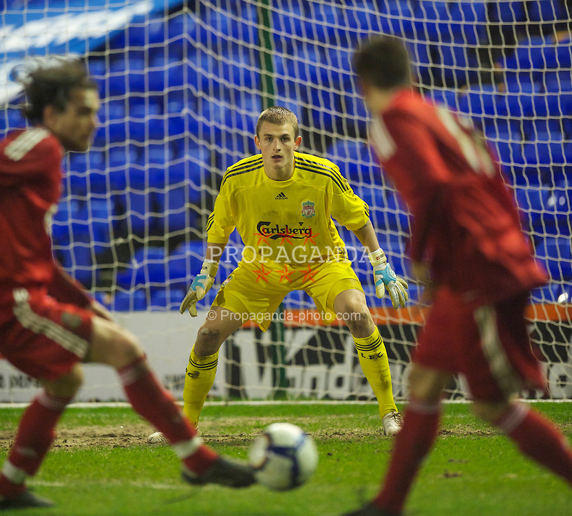BIRKENHEAD, ENGLAND - Thursday, March 25, 2010: Liverpool's goalkeeper Martin Hansen in action against Wigan Athletic during the FA Premiership Reserves League (Northern Division) match at Prenton Park. (Photo by David Rawcliffe/Propaganda)