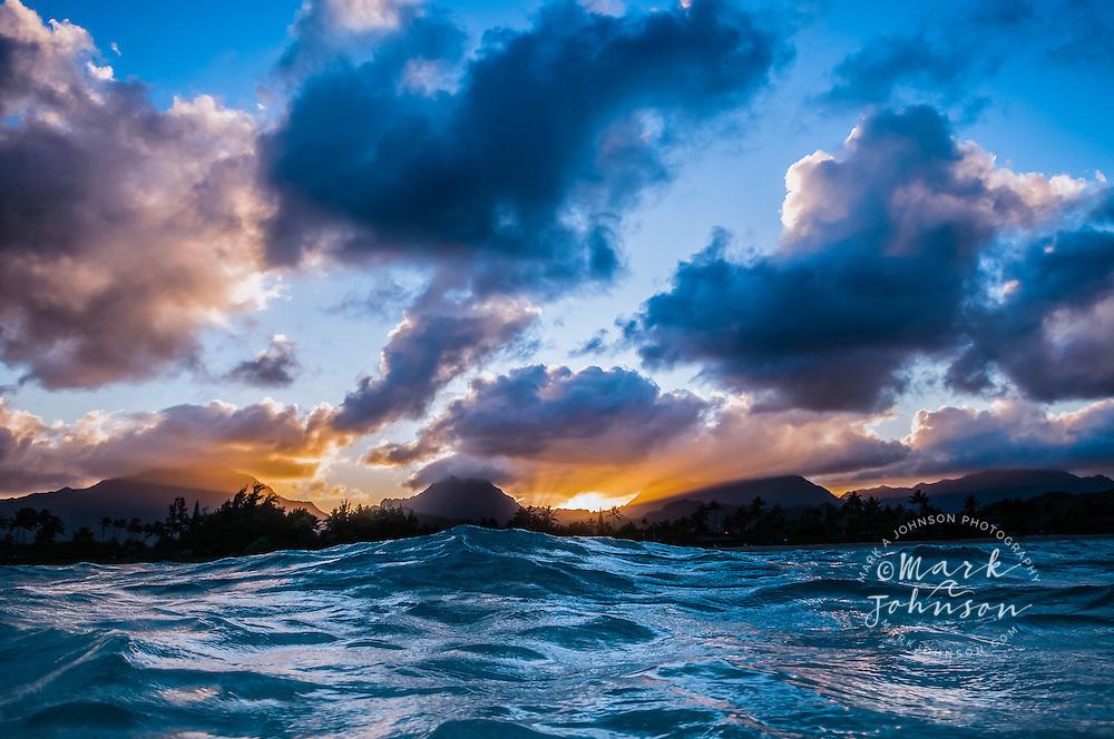 Sunset behind the Koolau Mountains from Kailua Bay, Oahu, Hawaii