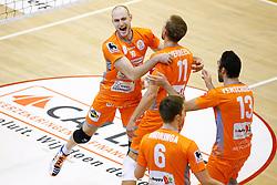 20141029 BEL: Eredivisie, Callant Antwerpen - Volley Behappy2 Asse - Lennik: Antwerpen<br />Jasper Diefenbach (10) of Volley behappy2 Asse - Lennik, Robin Overbeeke (11) of Volley behappy2 Asse - Lennik<br />©2014-FotoHoogendoorn.nl / Pim Waslander