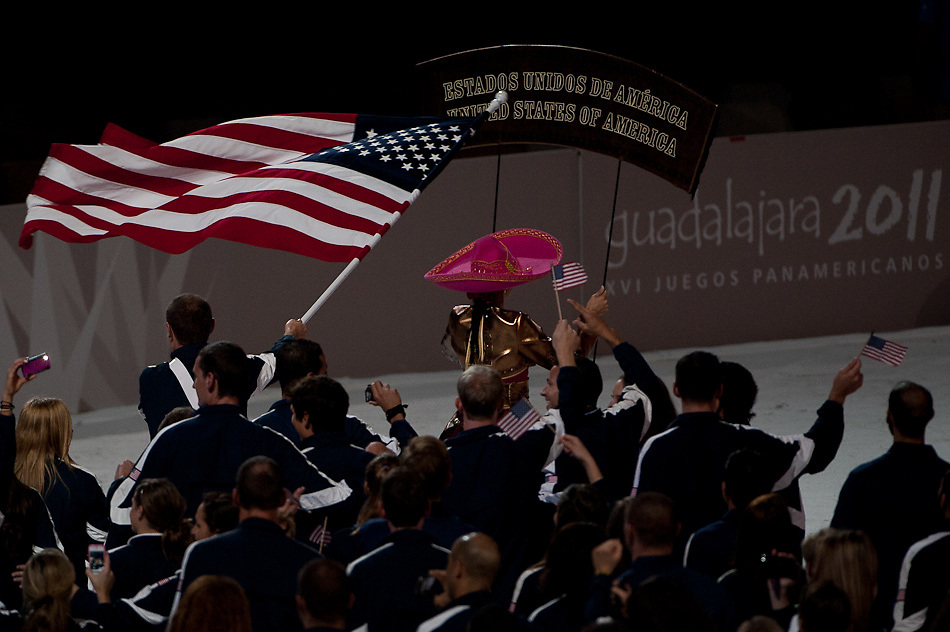 Oct. 14, 2011 - Oct. 14, 2011 - Guadalajara, Mexico - The team from the United States of America enters the opening ceremonies of the 2011 Pan American Games held at the Omnilife Stadium in Guadalajara..© Benjamin B Morris