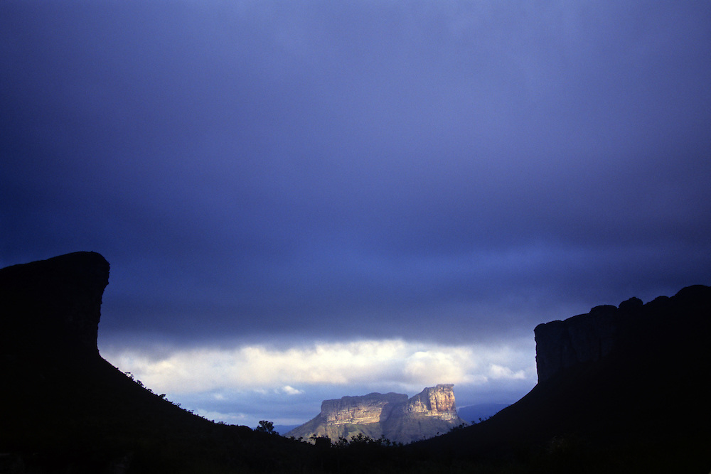 Chapada Diamantina. In the light on center Morro do Camelo. Bahia state, Brazil.