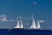 Rosehearty and Zenji sailing in the St. Barth's Bucket Regatta.