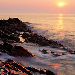 Ogunquit, ME. Sunrise from 'Marginal Way' on the Atlantic Ocean.