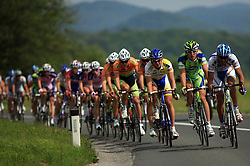 Riders in peloton (from R Roberto Traficante of Italia  Serramenti (PVC Diqugiovanni -Androni Giocattoli),Maciej Bodnar of Poland (Liquigas),...) during 1st stage of the 15th Tour de Slovenie from Ljubljana to Postojna (161 km) , on June 11,2008, Slovenia. (Photo by Vid Ponikvar / Sportal Images)/ Sportida)