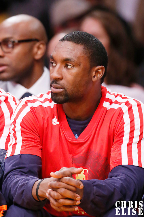 31 January 2014: Charlotte Bobcats shooting guard Ben Gordon (8) is seen on the bench during the Charlotte Bobcats 110-100 victory over the Los Angeles Lakers at the Staples Center, Los Angeles, California, USA.