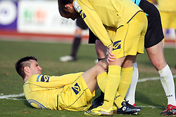 Luka Elsner of Domzale injured at 24th round of  Slovenian football first league PrvaLiga Telekom Slovenije match between NK Domzale and NK Interblock, on March 14, 2009, in Domzale, Slovenia. (Photo by Vid Ponikvar / Sportida)