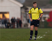 Referee Ben Whitehouse in action during today's game.<br /> <br /> Photographer: Dan Minto<br /> <br /> Indigo Welsh Premiership Rugby - Round 12 - Llandovery RFC v Carmarthen Quins RFC - Saturday 28th December 2019 - Church Bank, Llandovery, South Wales, UK.<br /> <br /> World Copyright © Dan Minto Photography<br /> <br /> mail@danmintophotography.com <br /> www.danmintophotography.com