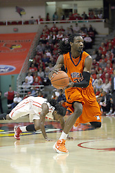 16 December 2012:  DeWayne Jackson continues up court after defender Bryant Allen falls away during an NCAA men's basketball game between the Morgan State Bears and the Illinois State Redbirds (Missouri Valley Conference) in Redbird Arena, Normal IL