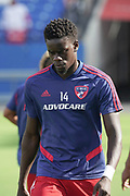 FC Dallas forward Dominique Badji warms up during a MLS soccer game against NYCFC, Sunday, Sept. 22, 2019, in Frisco, Tex. FC Dallas and NY Football Club draw at 1-1 (Wayne Gooden/Image of Sport)