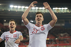 March 21, 2019 - Vienna, Austria - Krzysztof Piatek of Poland celebrates during the UEFA European Qualifiers 2020 match between Austria and Poland at Ernst Happel Stadium in Vienna, Austria on March 21, 2019  (Credit Image: © Andrew Surma/NurPhoto via ZUMA Press)