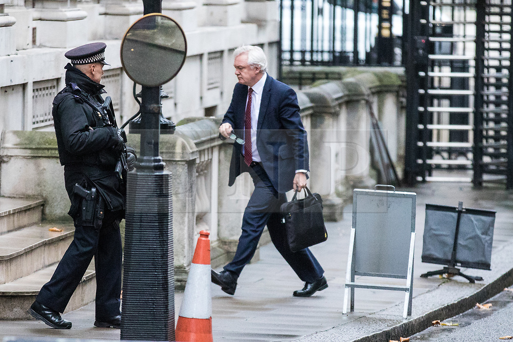 © Licensed to London News Pictures. 28/11/2017. London, UK. Secretary of State for Exiting the European Union David Davis arrives on Downing Street for the weekly Cabinet meeting. Photo credit: Rob Pinney/LNP