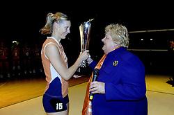 16-10-2006 VOLLEYBAL: DELA TROPHY: NEDERLAND - CUBA: ROTTERDAM<br /> De Nederlandse volleybalsters hebben de derde wedstrijd in de testserie tegen Cuba, met als inzet de Dela Cup, verloren. In Rotterdam zegevierde Cuba met 3-1 / Ingrid Visser en Erica Terpstra<br /> ©2006-WWW.FOTOHOOGENDOORN.NL