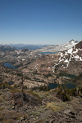 """""""Desolation Wilderness View 4"""" - Photograph from a vista point of the Tahoe Desolation Wilderness. Susie Lake can be seen on the left, Half Moon Lake and Alta Morris Lake can be seen on the right, and a sliver view of Lake Aloha can be seen in the top distance."""